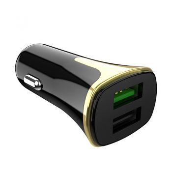 Автомобильное зарядное устройство (автозарядка) с кабелем Lightning Hoco Z31 на 2USB 2А адаптер в прикуриватель