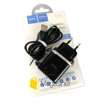Сетевое зарядное устройство для телефона с быстрой зарядкой QC 3.0 Hoco C12Q 3А ампера быстрая зарядка micro usb микро (1762)