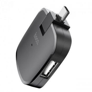 Usb хаб разветвитель концентратор удлинитель USB hub HOCO Type-C OTG to 3USB HB11 Черный