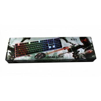 Игровой проводный комплект 4в1 клавиатура мышка наушники коврик Combo Gamer K01 геймерский комплект c RGB подсветкой
