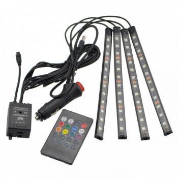 Автомобильная водонепроницаемая светодиодная RGB LED подсветка в салон на 4 ленты от прикуривателя с пультом (1868)