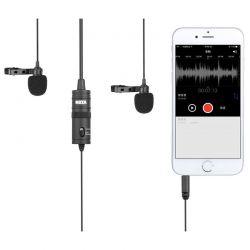 Петличный микрофон Boya BY M1DM, двойная петличка Боя для камеры и смартфона