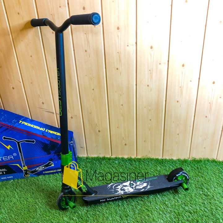 Самокат трюковый с алюминиевыми колесами 2 пеги в комплекте Best Scooter зеленый (DIMSA-027-1N), Черный с зеленым