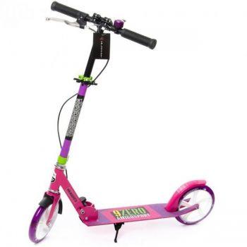 Самокат детский двухколесный Amigosport Glider Super с ручным тормозом переднее колесо светится розовый