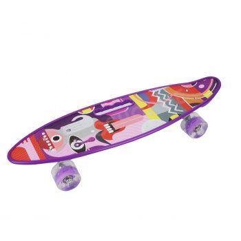 Детский скейт пенни-борд со светящимися колесами переносной мини борд с ручкой фиолетовый