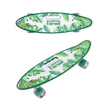 Детский скейт пенни-борд со светящимися колесами переносной мини борд с ручкой зеленый