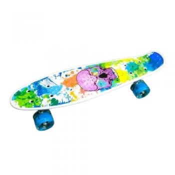 Детский скейт пенни-борд со светящимися колесами переносной мини борд череп