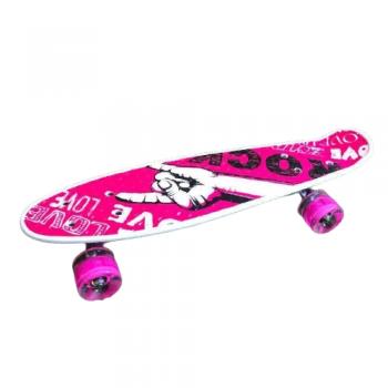 Детский скейт пенни-борд со светящимися колесами переносной мини борд рок розовый