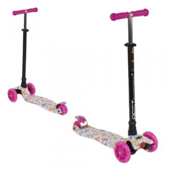 Детский трехколесный самокат Best Scooter MAXI кикборд со светящимися колесами розовый