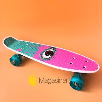 Пенни борд скейт маленький лонгборд детский скейтборд Best Board S 29707, доска 55 см, колёса полиуритановые светятся для фрирайда Фиолетовый