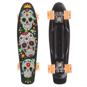 Пенни борд скейт маленький лонгборд детский скейтборд Best Board доска 55 см, колёса полиуритановые светятся для фрирайда черный-оранжевый с рисунким
