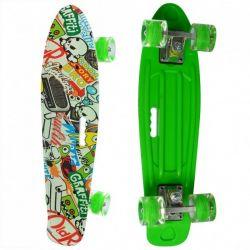 Пенни борд скейт маленький лонгборд детский скейтборд Best Board доска 55 см, колёса полиуритановые светятся для фрирайда зеленый с рисунким