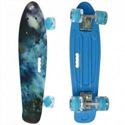 Пенни борд скейт маленький лонгборд детский скейтборд Best Board доска 55 см, колёса полиуритановые светятся для фрирайда синий с рисунким