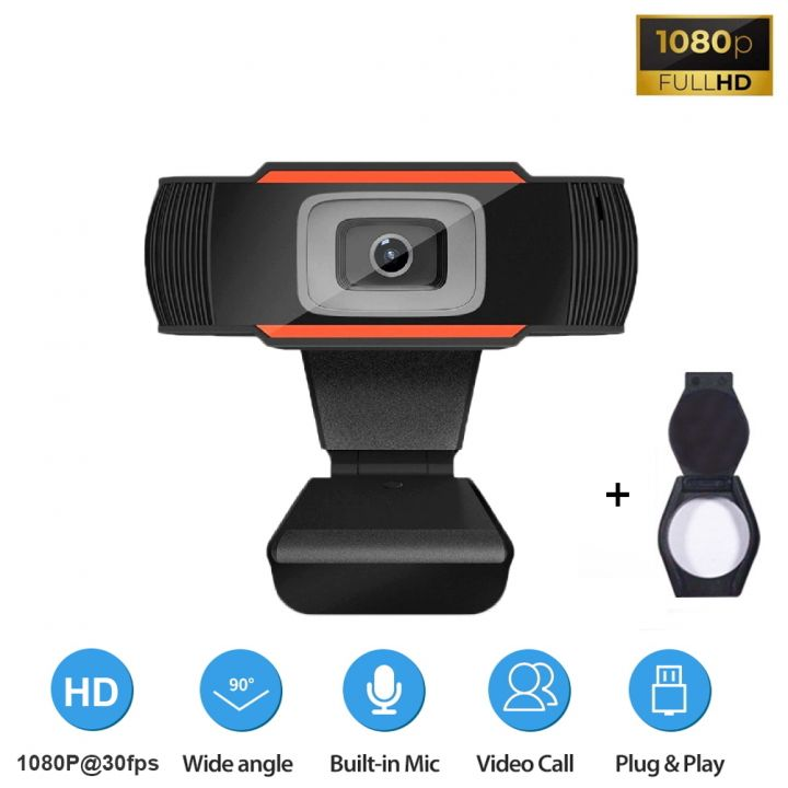 Веб-камера Full HD 1080p (1920x1080) с встроенным микрофоном вебкамера для ПК компьютера скайпа UTM Webcam (SJ-922-1080) + колпачок-крышка на объектив