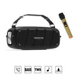 Беспроводная портативная мощная bluetooth колонка с микрофоном Sound System A20 Pro Hopestar 55ВТ с Влагозащитой IPX6 черная
