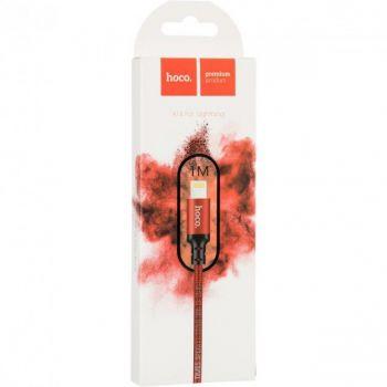 USB кабель Hoco X14 Lightning (iPhone) 1м нейлоновая оплетка красный