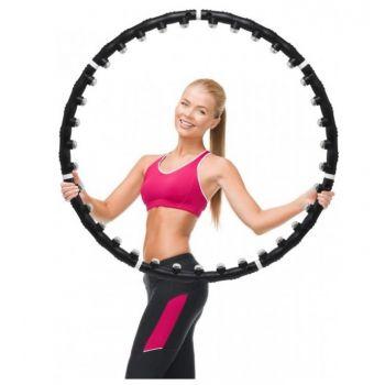 Массажный обруч Pro Massaging Hoop хула хуп тренажер для похудения с магнитными вставками Black (S0003)