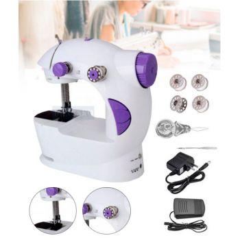 Домашняя беспроводная портативная легкая швейная машинка Sewing machine Бытовая электрическая мини-машинка для шитья с подсветкой от сети и педалью