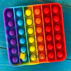 Антистресс сенсорная игрушка Pop It квадрат Силиконовая Поп Ит Push Up Bubble Разноцветная