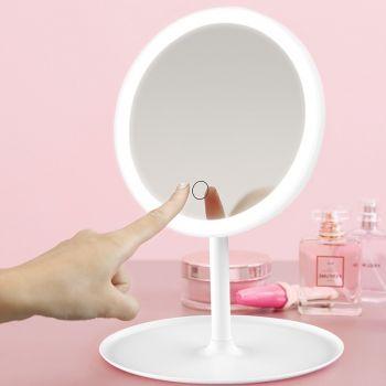 Косметическое зеркало с LED подсветкой С яркой лед подсветкой, встроенным аккумулятором, белое