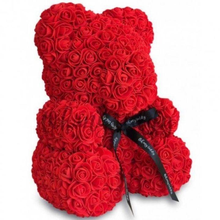 Подарочный Мишка из искусственных 3D роз 25 см в подарочной коробке красный