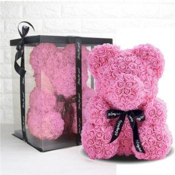 Подарочный Мишка из искусственных 3D роз 25 см в подарочной коробке розовый