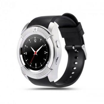 Умные смарт часы с функцией фитнес браслета Smart watch V8 мужские сенсорные спортивные часы Black/Silver