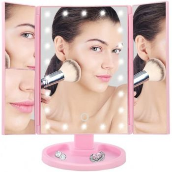 Зеркало для макияжа гримерное с подсветкой тройное складное Superstar Magnifying Mirror 22 LED увеличительное – Сенсорное настольное косметическое зеркало USB Pink