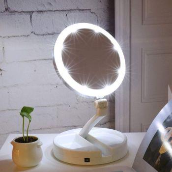 Складное двухстороннее косметическое зеркало Magic Makeup для макияжа гримерное увеличительное 10X с LED подсветкой (388)