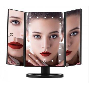 Зеркало для макияжа гримерное с подсветкой тройное складное Superstar Magnifying Mirror 22 LED увеличительное – Сенсорное настольное косметическое зеркало USB Черное