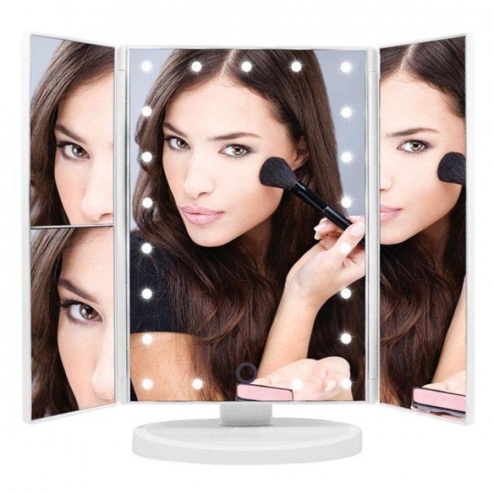 Зеркало для макияжа гримерное с подсветкой тройное складное Superstar Magnifying Mirror 22 LED увеличительное – Сенсорное настольное косметическое зеркало USB белое
