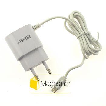 Зарядное устройство СЗУ ASPOR A802 Iphone 1a + usb для айфона белая (4-tg)