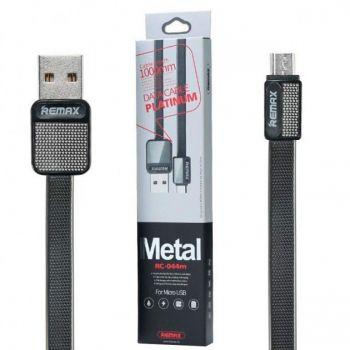 USB кабель Remax Metal RC-044m Data Cable Platinum micro USB 1м для зарядки смартфона черный