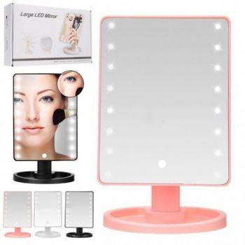 Косметическое настольное зеркало для макияжа с подсветкой 16 LED Touch Mirror сенсорное гримерное розовое