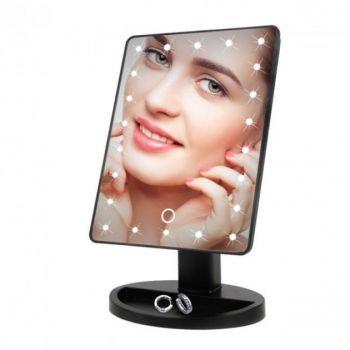 Косметическое настольное зеркало для макияжа с подсветкой 16 LED Touch Mirror сенсорное гримерное черное