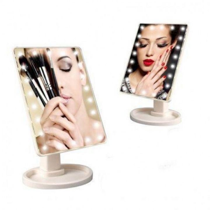 Косметическое сенсорное настольное гримерное зеркало с LED подсветкой для макияжа H0170 с подставкой (439-01)