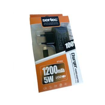 Сетевое зарядное устройство Sertec st-032 адаптер Lightning для Iphone черный