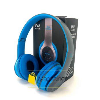 Беспроводные Bluetooth наушники UKC P47 синие с серым (563)