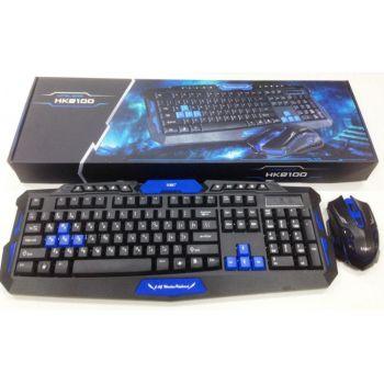 Беспроводный комплект клавиатура и мышка HK8100 геймерский комплект черный