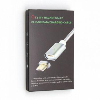 Кабель магнитный Magnetically G4 Micro USB 1 метр  для зарядки и синхронизации в оплетке серебро