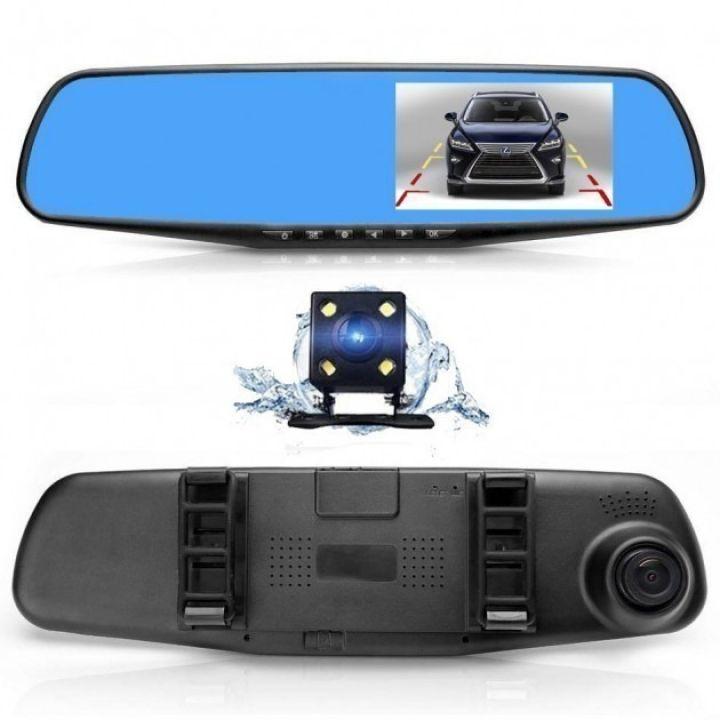 """Регистратор зеркало 2 в 1 с выносной камерой заднего вида DVR Full HD в машину Многофункциональный автомобильный видеорегистратор 4,3"""" Vehicle Blackbox со встроенным аккумулятором и 2-мя камерами"""