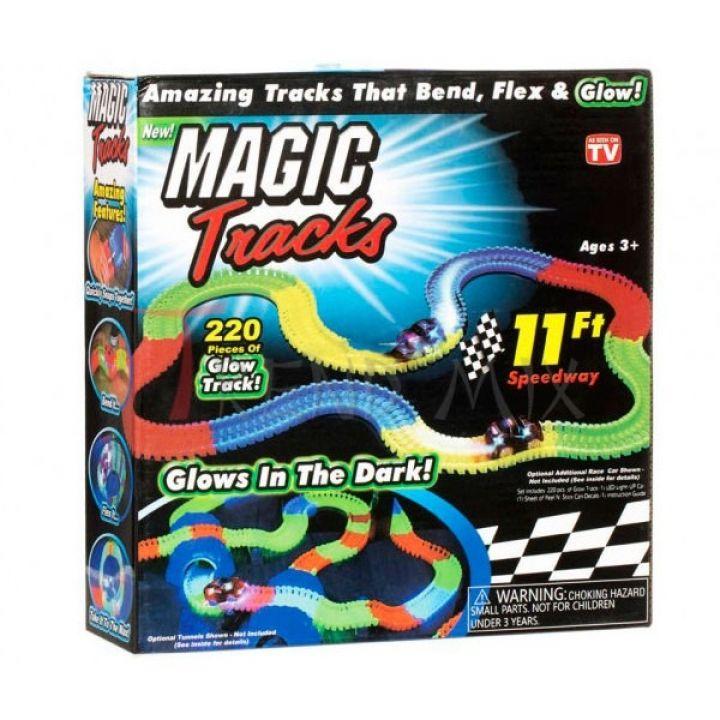 Детская гоночная трасса конструктор Magic Tracks 220 деталей Трек гибкий светящийся 220 деталей + 1 машинка