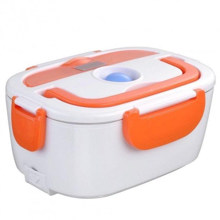 Электрический термос для еды ELECTRONIC LUNCHBOX на 2 отделения с ложкой ланч-бокс с подогревом оранжевый