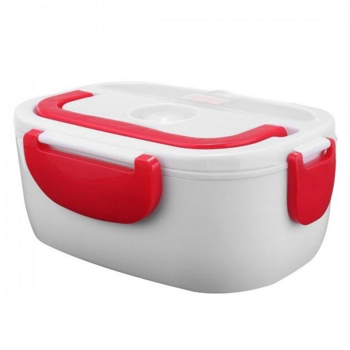 Электрический термос для еды ELECTRONIC LUNCHBOX на 2 отделения с ложкой ланч-бокс с подогревом красный