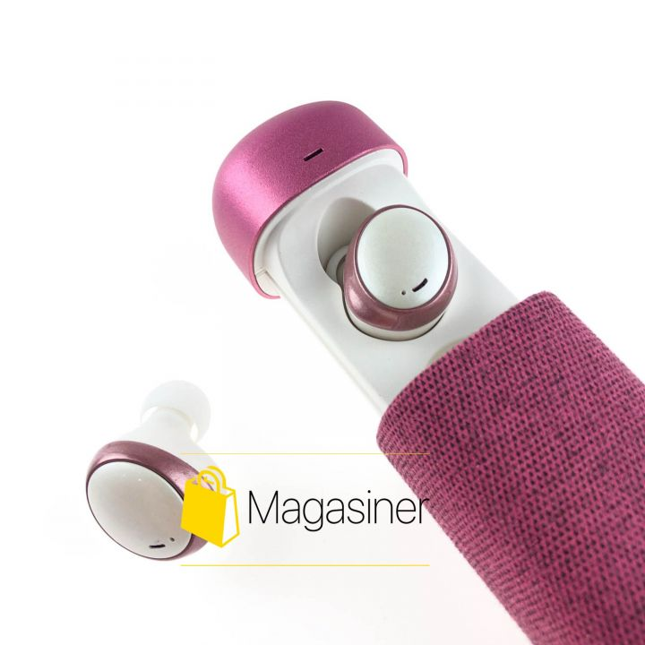 Беспроводные bluetooth наушники HIFI Earphone 206 с кейсом розовые (857)
