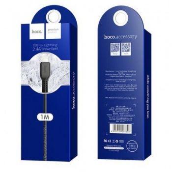 USB кабель для зарядки смартфона Hoco X20 Flash Charged Cable Lightning-USB для iPhone, iPad 1 м черный
