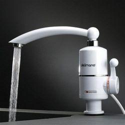 Лучший мгновенный проточный электрический водонагреватель с регулятором температуры для квартиры и дачи кран смеситель Delimano Белый с автономной системой подогрева воды для ванны или кухни