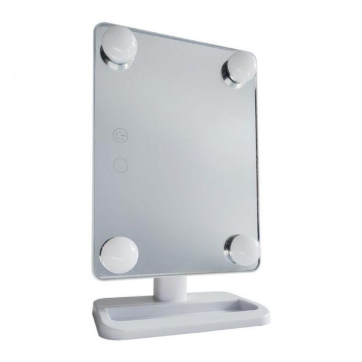 Косметическое настольное зеркало для макияжа с подсветкой Cosmetie Mirror 360 HH083 сенсорное гримерное белое
