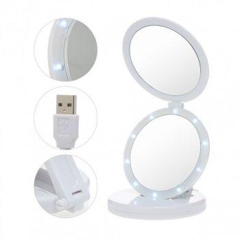 Косметическое настольное складное зеркало для макияжа с подсветкой 5х Large Led Mirror гримерное белое