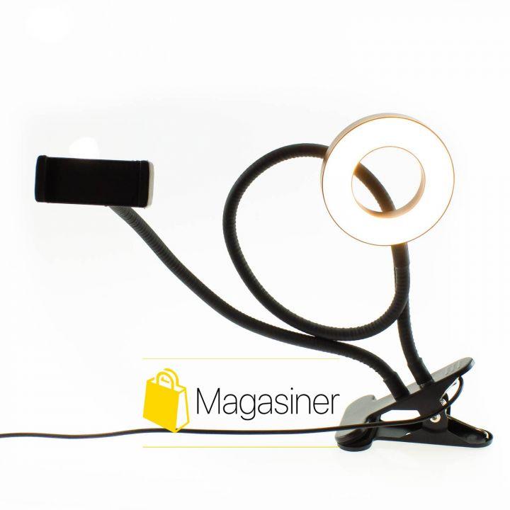Кольцевая лампа держатель для телефона на прищепке+подсветка Stream -Professional Live (926)
